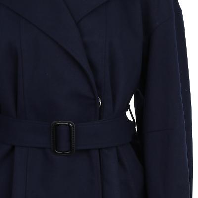 drop shoulder belted coat navy 2